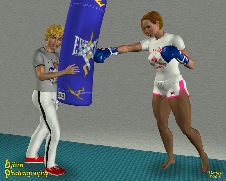 Därefter går hon vidare och slår mot boxningssäcken. Som så många gånger  tidigare håller hennes son Jiro emot när hon arbetar med den. 3afab9382d188